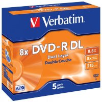 Диск DVD-R Verbatim 8,5Gb 4x Dual Layer (1шт) jewel case